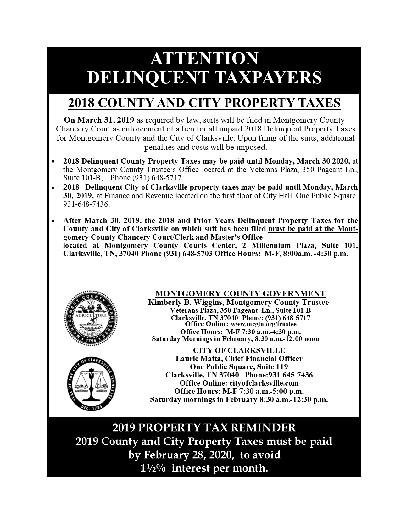 Attention Delinquent Taxpayers