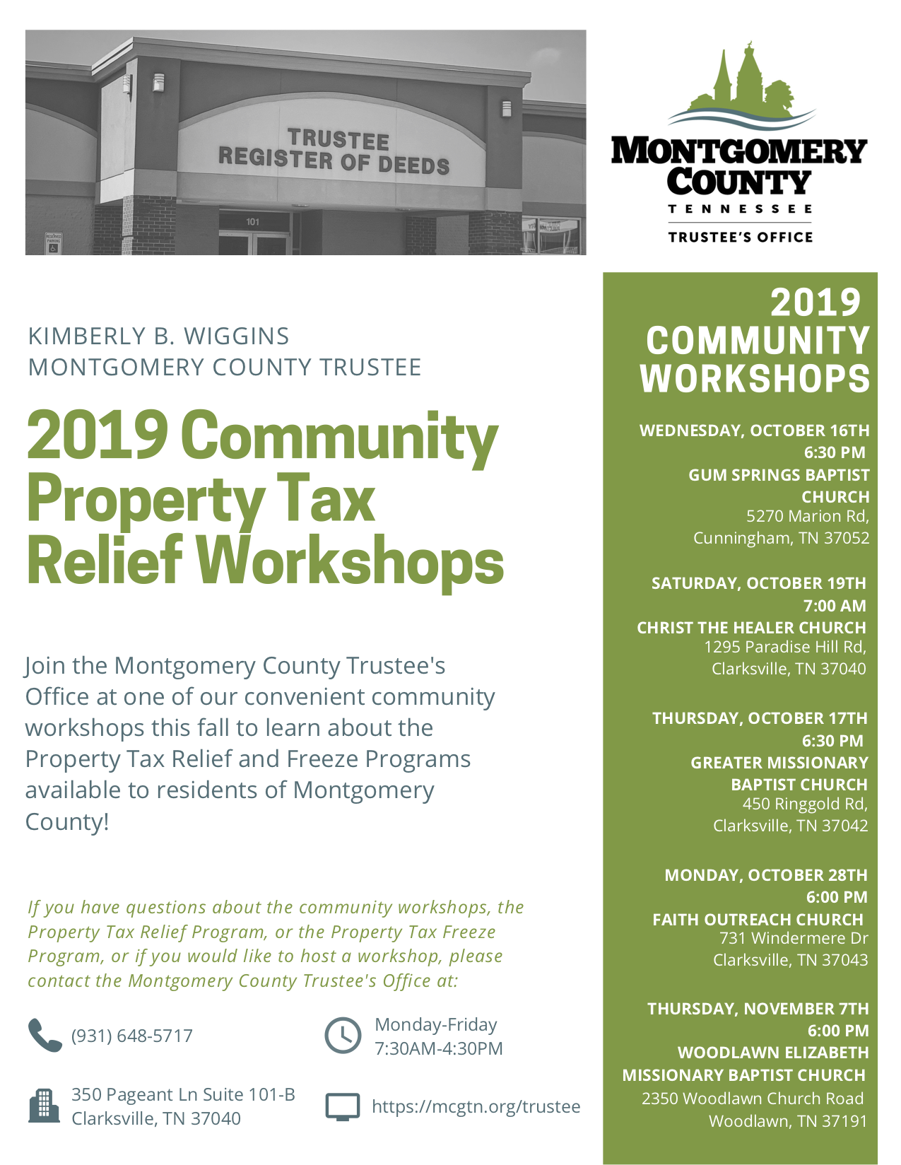 2019 Community Property Tax Relief Workshops